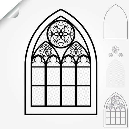church window: Gothic window of cathedrals, churches, monasteries and medieval castles, roses elements - vector illustration