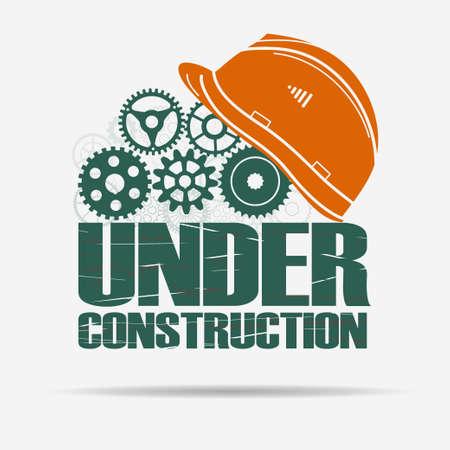 under: Under construction - gears and helmet - website - page design. Vector Illustration