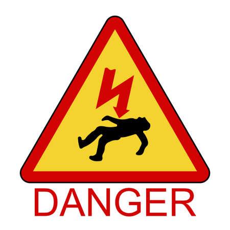 Danger Electrical Hazard, High Voltage Sign, triangle sign of death - vector illustration 일러스트