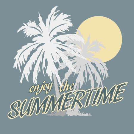 gold coast: Palm trees and Sun on the Beach, Typography Graphics. Summertime fun, Paradise, Silhouette. Creative T-shirt Design, vector illustration