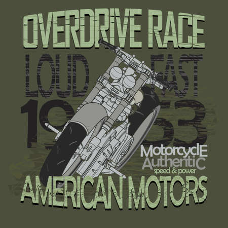 superdirecta: Carreras de motos Gr�ficos tipograf�a. Bikers desgaste, Racing Overdrive, motobike. T-shirt de dise�o, ilustraci�n vectorial Vectores