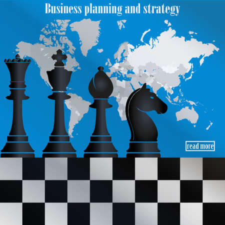 generating: Business planning and strategy. The chess pieces on the world map. Management and achievements. Smart solutions. Generating ideas - vector illustration