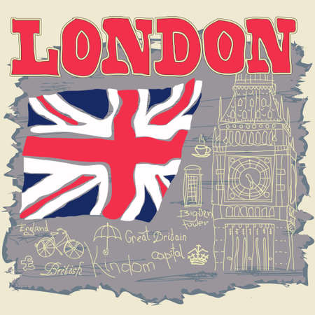 London Typography Graphics, T-shirt design, England, Great Britain, Big Ben, Attraction of the capital of England, vector illustration
