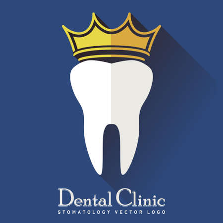 carious cavity: Tooth with a Crown and long shadow on a Blue Background, Stomatology Icon, Dental Treatment Logo, Medical healthcare Symbol,  Modern Flat Design - Vector Illustration