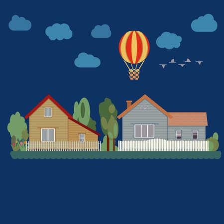 investment real state: Casas, �rboles, globo y nubes - paisaje urbano. Bienes ra�ces. Dise�o plano. ilustraci�n vectorial