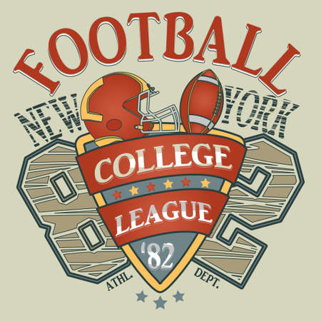 college football: New York Sport Typography, College Football Athletic Dept. T-shirt graphics, Vintage Print for sportswear apparel - vector illustration