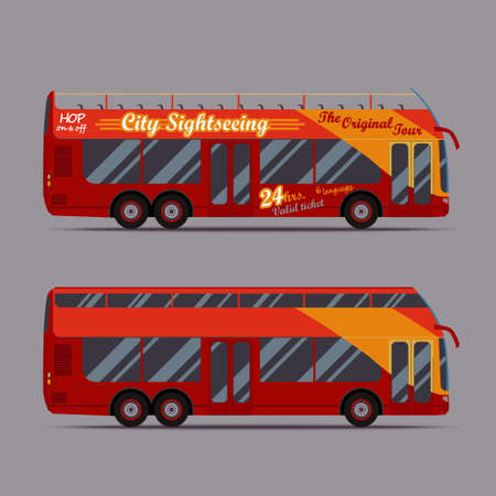 sightseeings: Red double decker bus, travel, sightseeing, city visiting, touristic transport -  - vector illustration Illustration