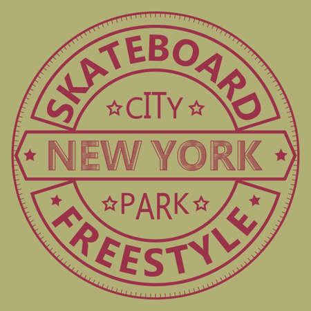 skate board: Skateboarding t-shirt graphic design. New York City Skate Board Freestyle typography - vector illustration