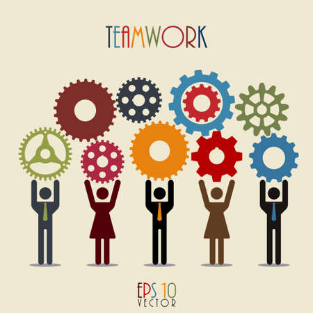 relaciones humanas: Mecanismo de trabajo en equipo de los recursos humanos, Composici�n Personas de negocios, medios de comunicaci�n social Engranajes, equipo exitoso, Ilustraci�n Red, ilustraci�n vectorial Moderno