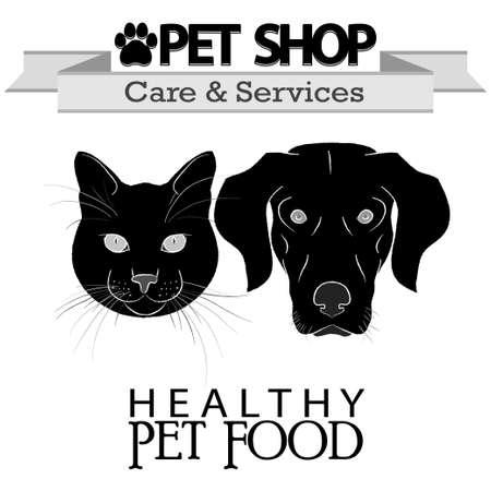pet services: Pet shop logo - Dog - Cat. Care - food - services. Vector Illustration