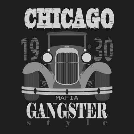 gangster: Chicagol t-shirt graphic design. Gangster style  typography emblem - vector illustration Illustration