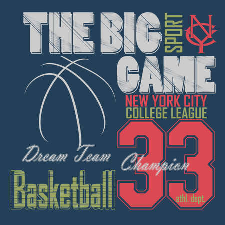 basket ball: Basketball t-shirt graphic design. New York City College League typography emblem,  Print for sportswear apparel - vector illustration