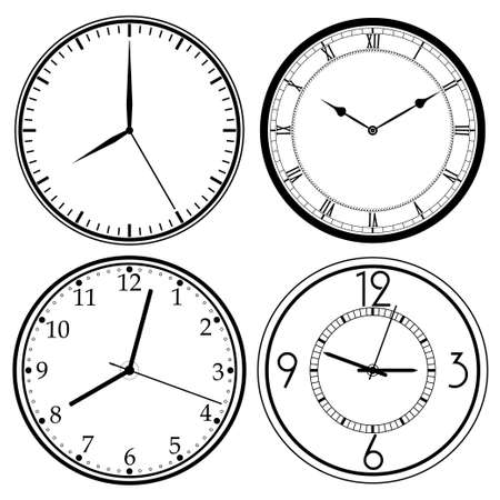 dial: Wall Clock template set, retro analog, clock-face, dial, precision roman style - vector illustration