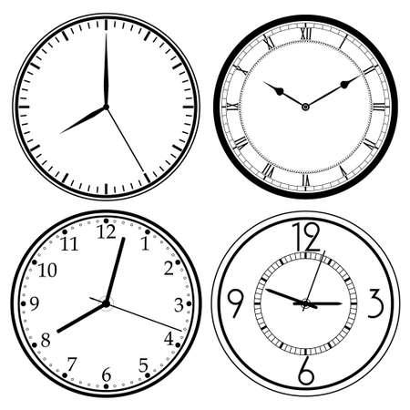 clockface: Wall Clock template set, retro analog, clock-face, dial, precision roman style - vector illustration