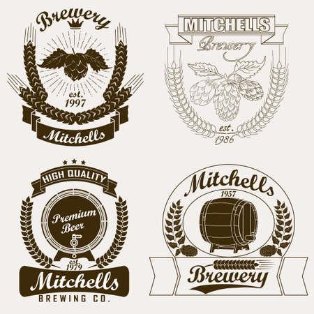 beer house: Brewery craft  label, Beer house  emblem, Pub sign, Vintage design elements - vector illustration Illustration