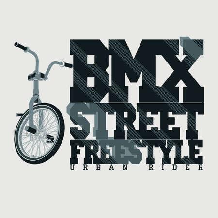 sportswear: BMX Riding Typography Graphics. Extreme  bike street style. T-shirt Design, Print for sportswear apparel - vector illustration