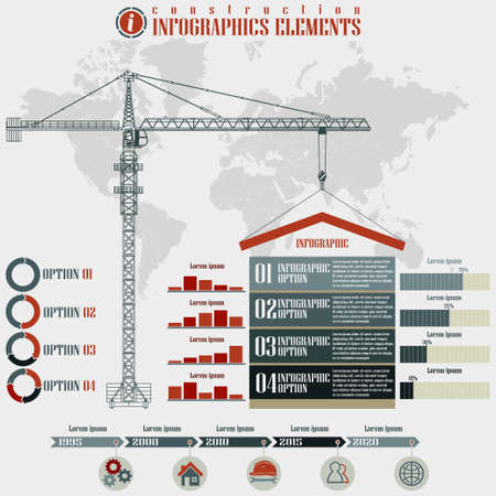 Infographics elements, Construction business, build tower crane on a world map background, vector illustration