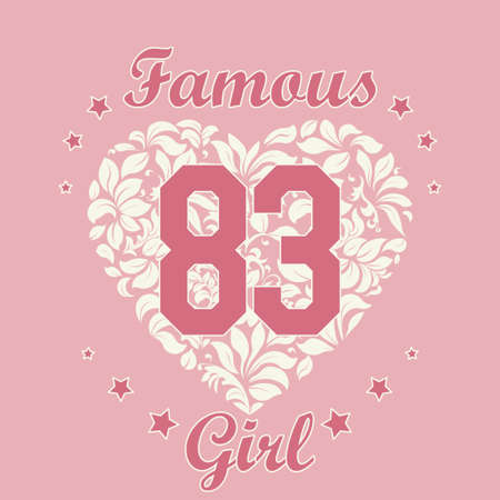 girl shirt: Girl fashion Typography Graphics. Sport T-shirt Design with floral heart, vector illustration