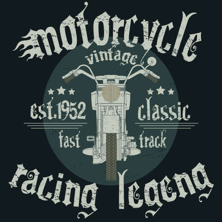 motorcycle racing: Motorcycle Racing Typography Graphics. Classic fast vintage bike. T-shirt Design, vector illustration Vectores