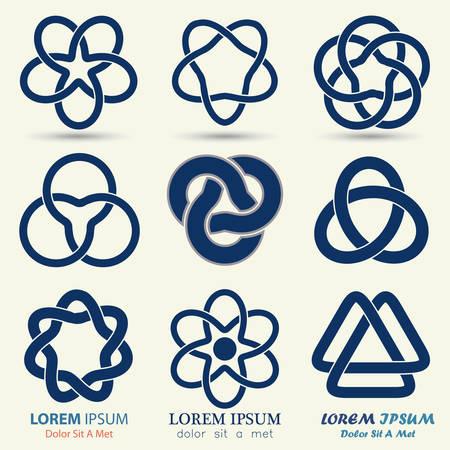 keltische muster: Business Emblem Set, blau knotensymbol, Kurve geschleift Symbol - Vektor-Illustration