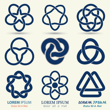 knots: Business emblem set, blue knot symbol, curve looped icon - vector illustration
