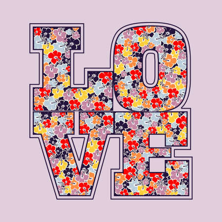 Love print floral letters design, card, typography, fashion decorative emblem - vector illustration