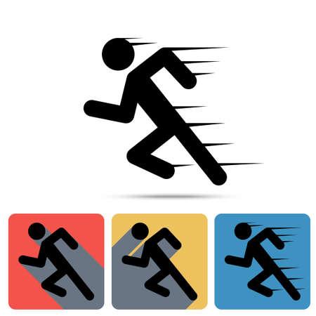 simbolo uomo donna: Correre icona uomo, velocista. Piatte lunghe icone ombra, segno velocit�, simbolo sport, vincitore della maratona - vettore
