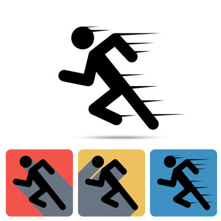 man shadow: Running Man icon, sprinter. Flat long shadow icons, speed sign, sport symbol, marathon winner - vector