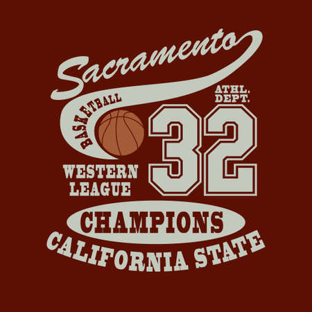 Sacramento Basketball T-shirt, Sport Typography design, California fashion emblem. Graphic Print label - vector illustration