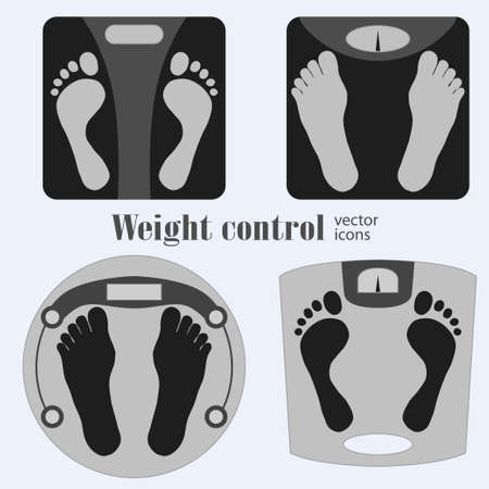 watcher: Bathroom scales and footprint icons. Diet, weight control - Vector illustration
