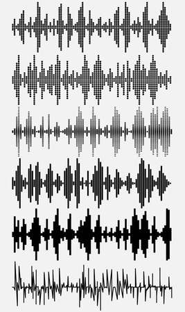 sonic: Sound waves set. Halftone digital music volume - spectrum diagram. Use in audio technology, equalizer - club - radio - pub - show - party. Vector illustration