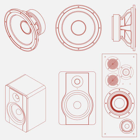 subwoofer: Audio speaker icon. Studio monitor. Subwoofer  front view and isometric view. Vector illustration. Illustration