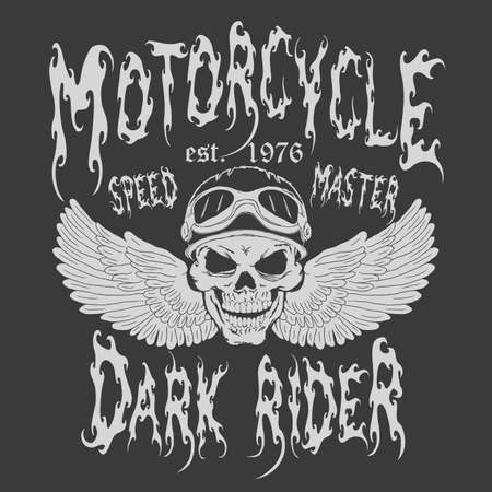 racing wings: Motorcycle T-shirt Design. Skull with wings and rider helmet. Racing Typography Graphics. Bikers wear. vector illustration