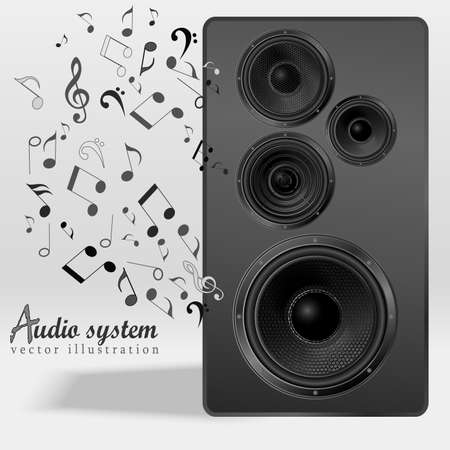 speaker: Audio speaker with flying out nones and treble clef. Studio monitor. Subwoofer, front view. Vector illustration.