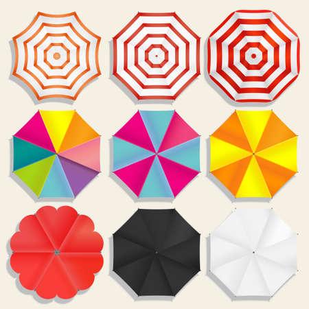 Beach umbrellas top view,  sunshade set, Seasons objects parasol. Vector Illustration Vettoriali