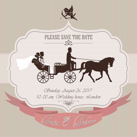 Wedding invitation, the bride and groom in retro carriage - vector illustration Illustration