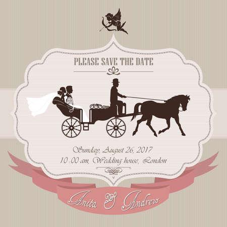 uitnodiging van het huwelijk, de bruid en de bruidegom in retro wagen - vector illustratie