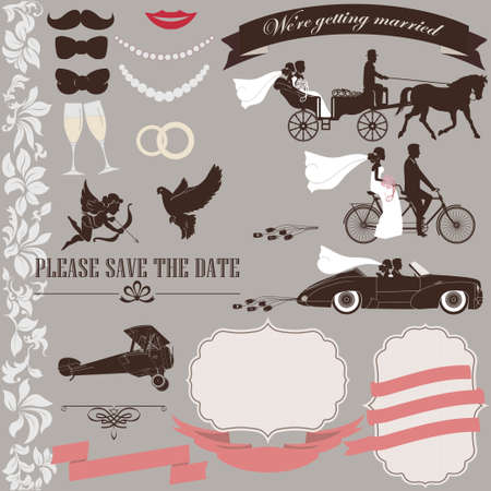 Wedding invitation elements set Vintage design. Tandem bicycle, bride, groom, retro car, airplane, carriage - vectors Çizim