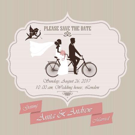 royal invitation: Wedding invitation, the bride and groom on a retro tandem bicycle - vector illustration Illustration