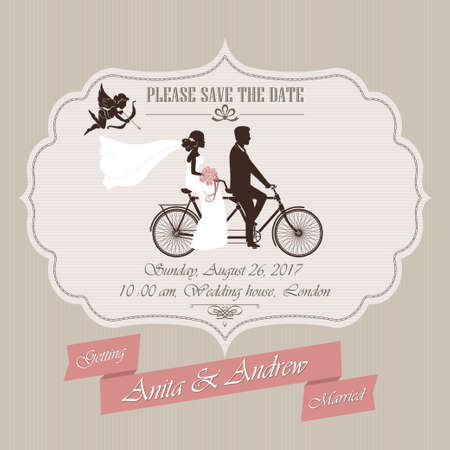 Wedding invitation, the bride and groom on a retro tandem bicycle - vector illustration Çizim