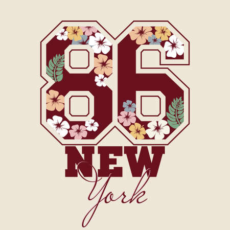 Fashion Typography Graphics. Sport T-shirt Design with floral numbers, vector illustration