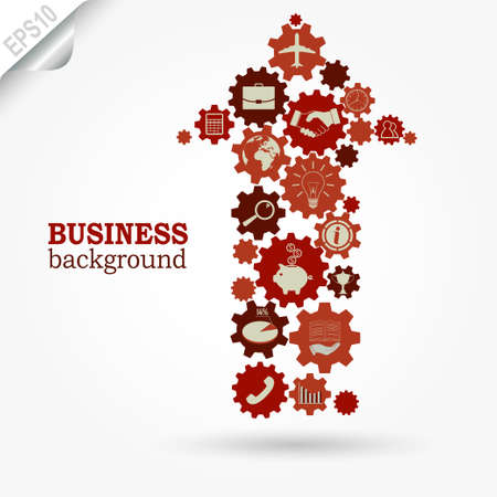information technology: Business design, Gears in Arrow, marketing development strategy, Flat vector icons Illustration