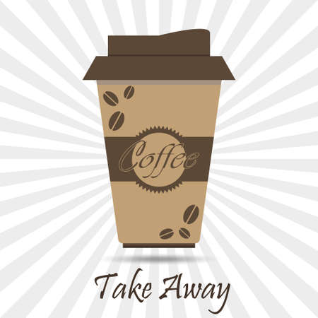 coffee company: Coffee Cardboard Container, take away.  Drink poster. Breakfast  beverage,  espresso, latte, cappuccino. Company, Shop  Design Element - vector