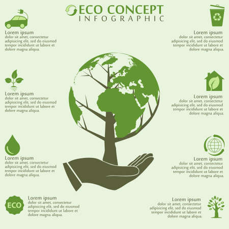 green eco: Ecology infographics elements, world globe and tree concept, bio, organic, vector illustration