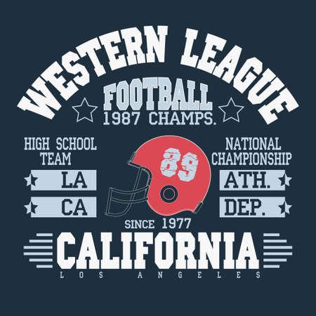 sportswear: California Sport Typography, Football Athletic  T-shirt fashion design graphics, Vintage Print for sportswear apparel - vector illustration Illustration