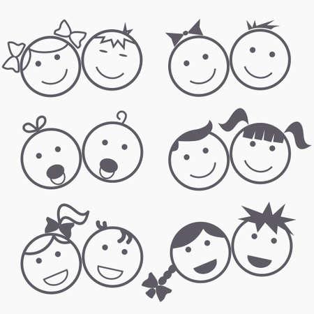 Ícones dos miúdos, rostos felizes, sorrir crianças, menino e menina silhueta, design linear - vetores Ilustração