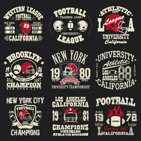 Football logo set, Athletic T-shirt fashion design, Sport Typography, Vintage Print for sportswear apparel - vector illustration Vettoriali