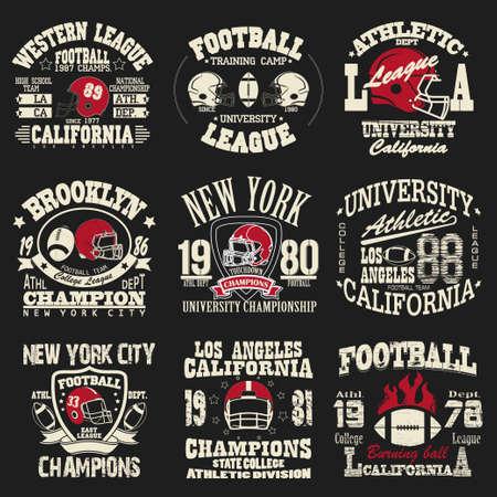 ropa deportiva: Fútbol Conjunto de la insignia, diseño atlético de moda T-shirt, Deporte tipografía, impresión de la vendimia para la ropa deportiva - ilustración vectorial
