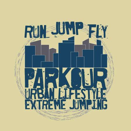 parkour: Parkour concept Fashion Typography, sport emblem design, urban graphic Print label - vector illustration Illustration