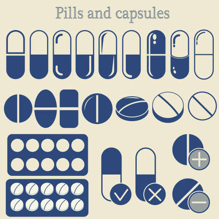 blue pills: Capsules and Pill set, Medicine Tablet icon collection, healthcare, drugs, medicament - vector illustration Illustration
